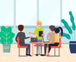 Group of people or workers sitting around table and discussing work issues. Office teamwork or business meeting, employees communication, manager report. Flat cartoon