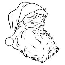 Santa Claus Face. Portrait Of Santa. Black White Christmas Pattern. Sketch The Head Of Santa Claus. Tattoo.