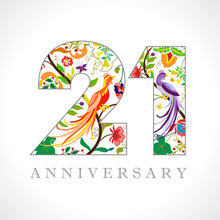 21 Years Old Logotype. 21 Th Anniversary Numbers. Decorative Symbol. Age Congrats With Peacock Birds. Isolated Abstract Graphic Design Template. Royal Coloured Digits. Up To 21% Percent Off Discount.