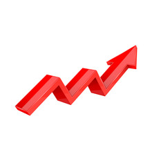 Financial Trend. Up Rising Indication Arrow. Red 3d Sign