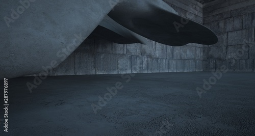 Fototapeta Empty dark abstract concrete smooth interior . Architectural background. 3D illustration and rendering obraz na płótnie
