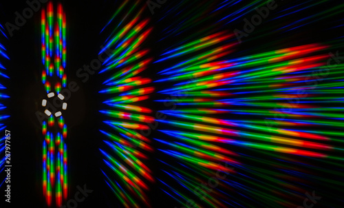 Fényképezés Photo of the diffraction pattern of LED array light, comprising a large number o