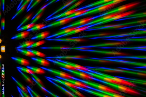 Photo of the diffraction pattern of LED array light, comprising a large number o Fototapet