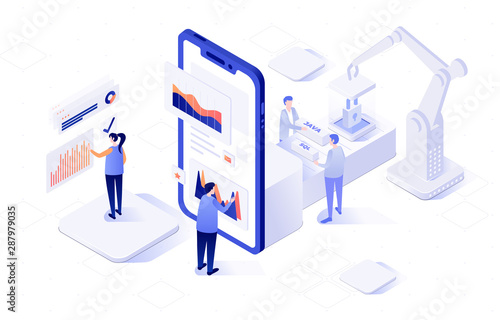 Fotografia Vector isometric illustration of an front-end and back-end
