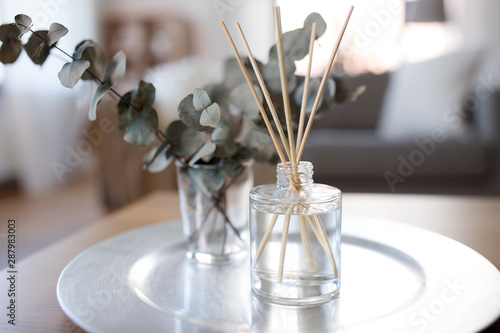 Photo decoration, hygge and aromatherapy concept - aroma reed diffuser and branches of