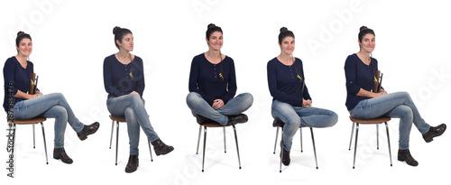 Obraz woman sitting on a chair - fototapety do salonu