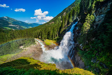 Impressive View On The Krimml Waterfalls In Austria (Krimmler Wasserfälle)