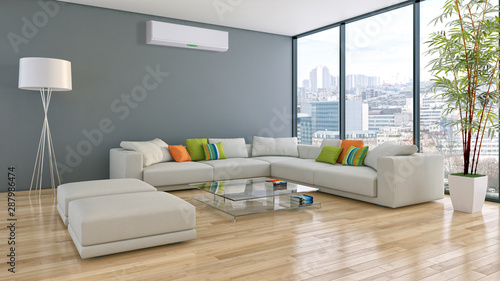 large luxury modern bright interiors with air conditioning illustration 3D rendering - 287986474