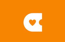 Love Heart Orange White Alphab...