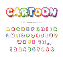 Cartoon Bright Font For Kids. Paper Cut Out ABC Letters And Numbers. Paper Cut Out. Colorful Alphabet. Vector
