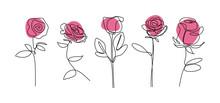 Rose Flower Continuous Line Dr...