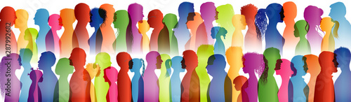 Dialogue between a large group of people. Talking crowd. Colored silhouette profiles. Many people talking. Speak. To communicate. Social network. Communication. Multi-ethnic people