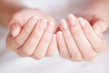 Close-Up Long Fingernail Of Women On Background Blurred, Concept Of Health Care Of The Fingernail.