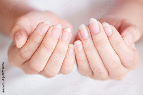 Photo Close-Up long fingernail of women on background blurred, Concept of health care of the fingernail