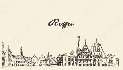 Riga skyline, Latvia, hand drawn vector sketch