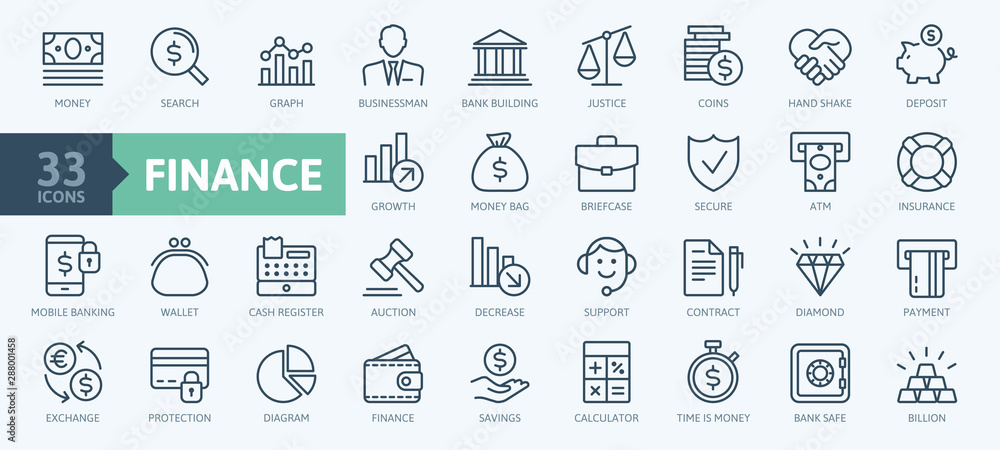 Fototapety, obrazy: Money, finance, payments elements - minimal thin line web icon set. Outline icons collection. Simple vector illustration.