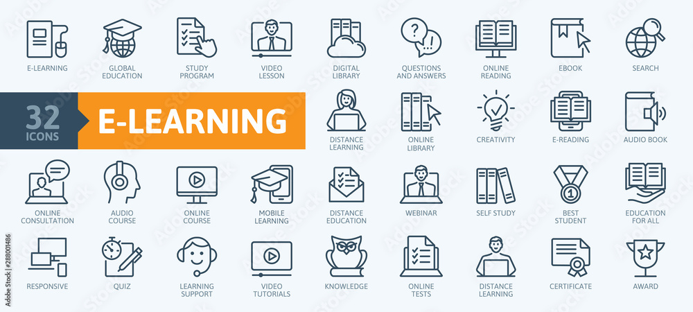 Fototapeta E-learning, online education elements - minimal thin line web icon set. Outline icons collection. Simple vector illustration.