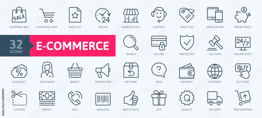 Fototapeta E-commerce, online shopping and delivery elements - minimal thin line web icon set. Outline icons collection. Simple vector illustration.