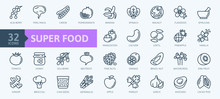 Super Food - Thin Line Icon Set Of Fruits, Vegetables, Berries, Nuts, Roots And Seeds. Outline Icons Collection Of Healthy Detox Natural Products, Organic Food Ingredients For Health And Diet.