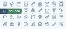 Education And Back To School - Thin Line Icons Set. Outline Icons Collection.