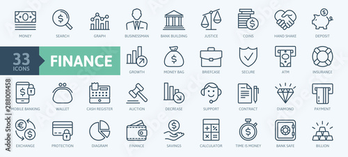 Money, finance, payments elements - minimal thin line web icon set. Outline icons collection. Simple vector illustration. - 288001458