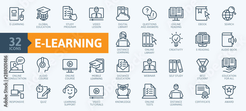 E-learning, online education elements - minimal thin line web icon set Fototapeta