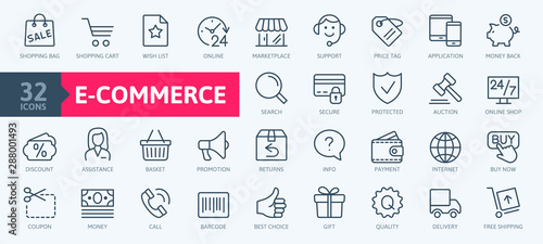 Fotomural E-commerce, online shopping and delivery elements - minimal thin line web icon set