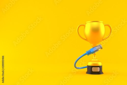 Fotomural  Golden trophy with network cable