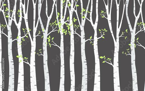 Vászonkép Birch Tree with deer and birds Silhouette Background