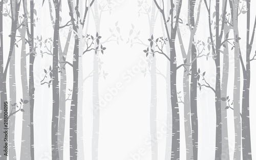 Obraz na plátne Birch Tree with deer and birds Silhouette Background