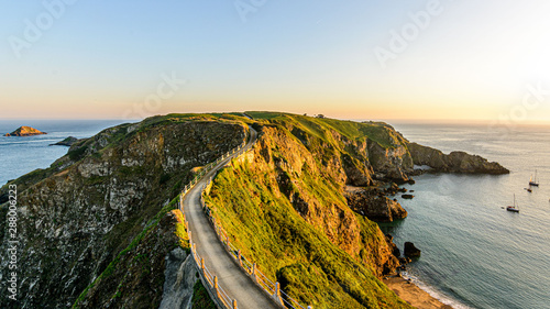 sark summer view coastline with cliffs la coupe