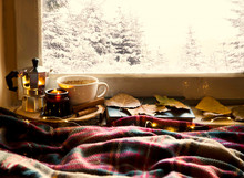 Winter Cosy Home Interior Still Life At Window,cosy Home Interior Decoration With Candle , Coffee And Blanket, Cold Season Cozy Home Interior Lifestyle Concept With Deco