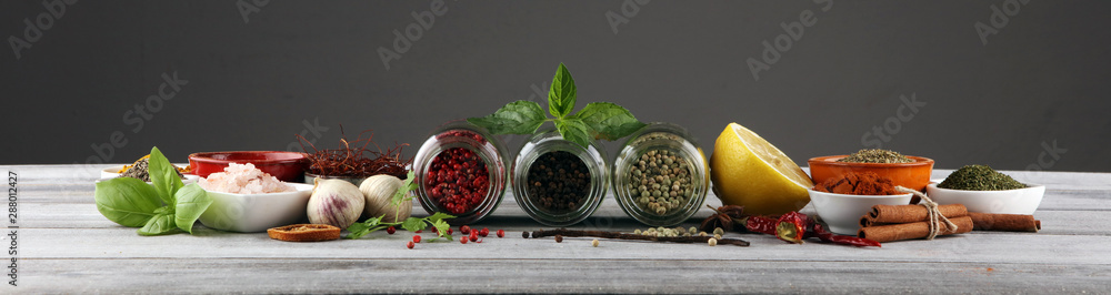 Fototapety, obrazy: Spices and herbs on table. Food and cuisine ingredients with basil