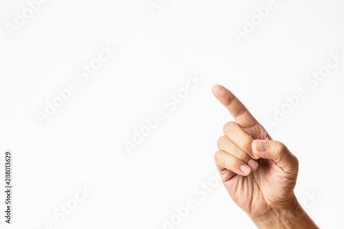 male hand with index finger pointing up isolated in white background Canvas Print