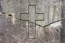 Horizontal Crack On The Wall Depicting A Cross. The Split Between The Churches Concept.