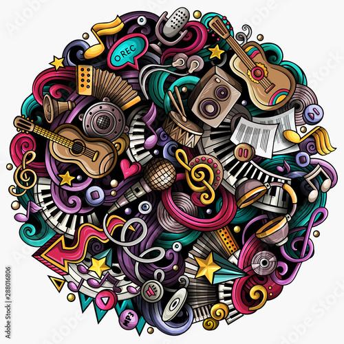 Plakaty Instrumenty Muzyczne   cartoon-hand-drawn-doodles-musical-illustration