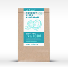The Original Coconut Chips Chocolate. Craft Paper Bag Product Label. Abstract Vector Packaging Design Layout with Realistic Shadows. Modern Typography and Hand Drawn Coco Nuts Silhouette.