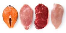Meat Collection On White Background. Beef, Pork, Chicken, Fish Isolated On White. Set Of Natural Food. Top View. Flat Lay.