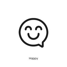 Happy Icon. Happy Chat Vector Symbol. Linear Style Sign For Mobile Concept And Web Design. Happy Chat Symbol Illustration. Pixel Vector Graphics - Vector