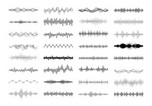 Set Of Waving, Vibration And Pulsing Lines. Graphic Design Elements For Financial Monitoring, Medical Equipment, Music App. Isolated Vector Illustration.