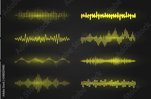 Valokuvatapetti Sound waves icon set