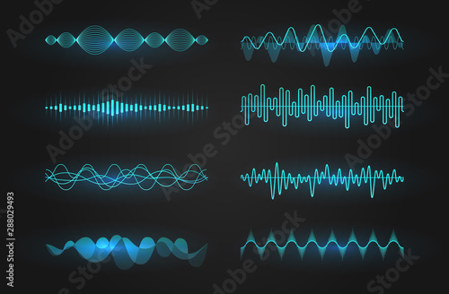 Sound waves icon set Tablou Canvas