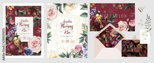 Fototapety, obrazy: Wedding invitation, save the date or flyer\card for any event and party. Original floral greeting with flowers, plants, leaves and a bird of paradise of happiness