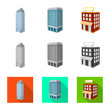 Vector design of construction and building symbol. Set of construction and estate stock vector illustration.