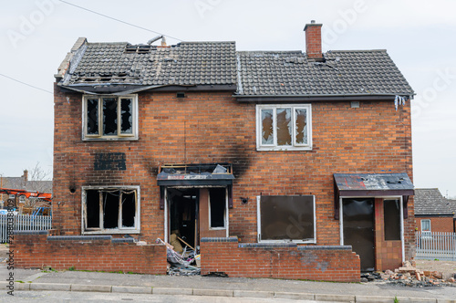 Fototapeta  Burned out, derelict council houses