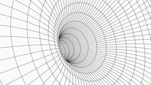 Wireframe 3D Tunnel. Perspective Grid Background Texture. Meshy Wormhole Model. Vector Illustration.