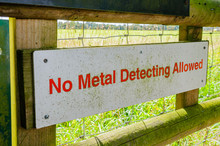 """No Metal Detecting Allowed"" Sign"