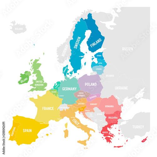 Photo Colorful vector map of EU, European Union, member states