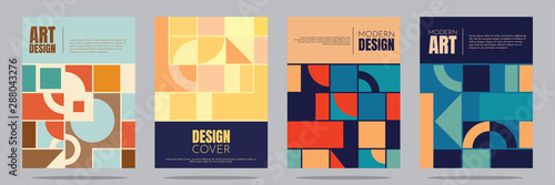 Fototapeta Vector illustration. Minimalistic geometric background in retro concept. A4 cover set. Squares, circles, semicircles, lines. Elements of graphic design. Simple geometric shapes. Flat style obraz