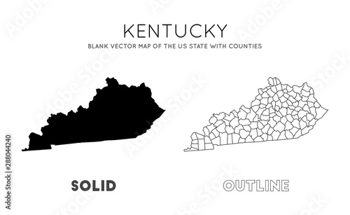 Kentucky map. Blank vector map of the Us State with counties ...